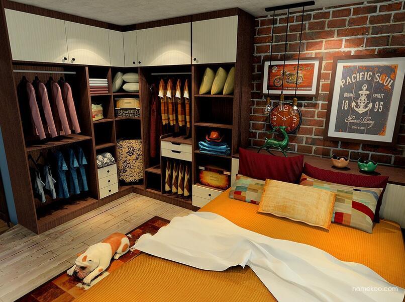 尚品宅配卧室成套家具定制整体衣柜衣橱梳妆台床免费设计包安装