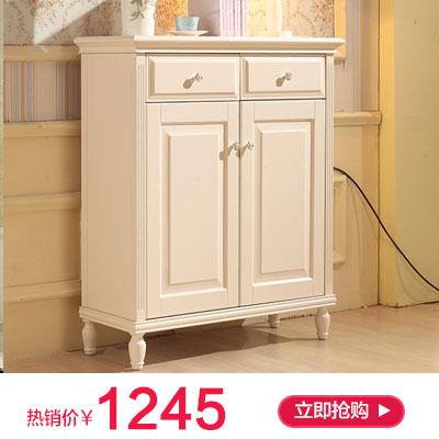 韩式田园鞋柜 木质玄关柜子两门白色烤漆门厅柜防尘
