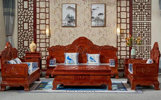 瑞拉斯     红木家具非洲花梨(学名:刺猬紫檀)实木雕花组合沙六件套中式仿古沙发客厅家具