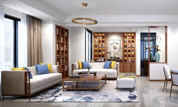 宅居宅修装饰:春江郦城新中式风