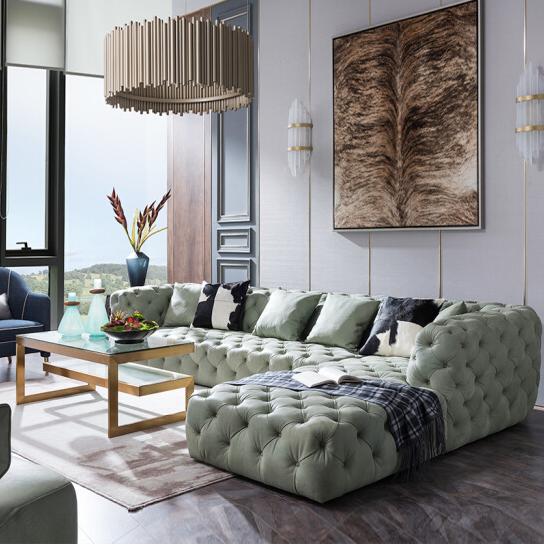 现代简约沙发轻奢美式转角休闲真皮实木沙发组合TL 轻奢美式/阿登纳薄荷绿头层牛皮转角沙发