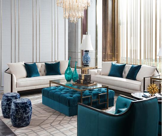 实木沙发 美式简约高端大户型布艺沙发组合客厅家具 TL ON 头层牛皮&布艺沙发组合1+2+3位